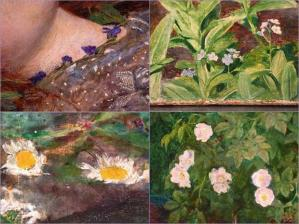 Ophelia by Millais (details)